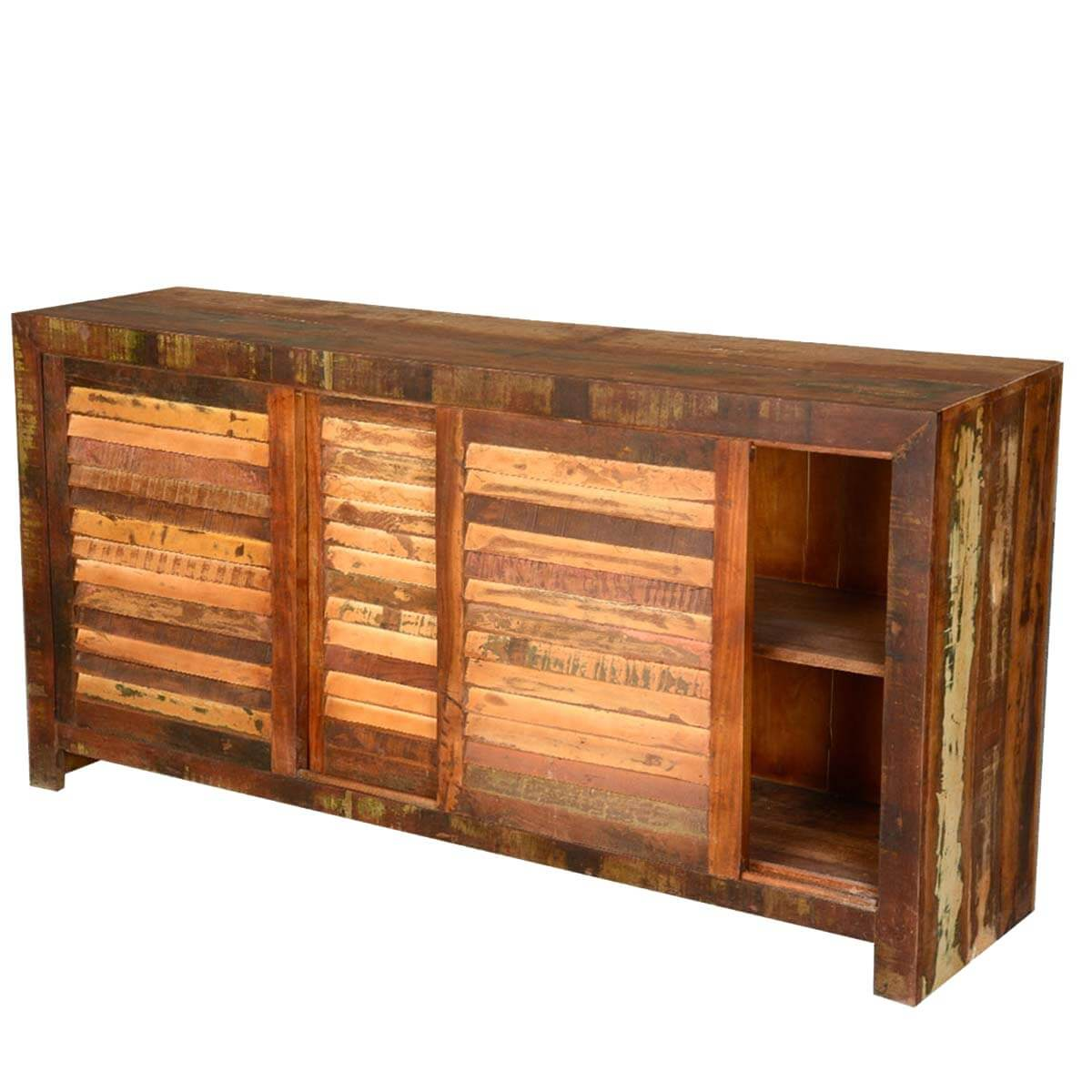 Rustic Reclaimed Wood Distressed Sliding Door Buffet  : 4273 from sierralivingconcepts.com size 1200 x 1200 jpeg 122kB