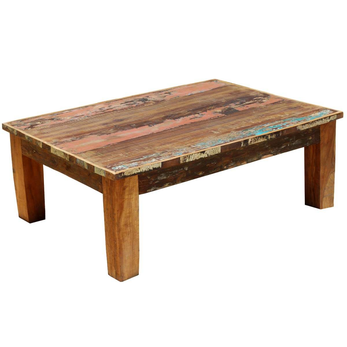 Appalachian rustic mixed reclaimed wood coffee table for Reclaimed teak wood coffee table