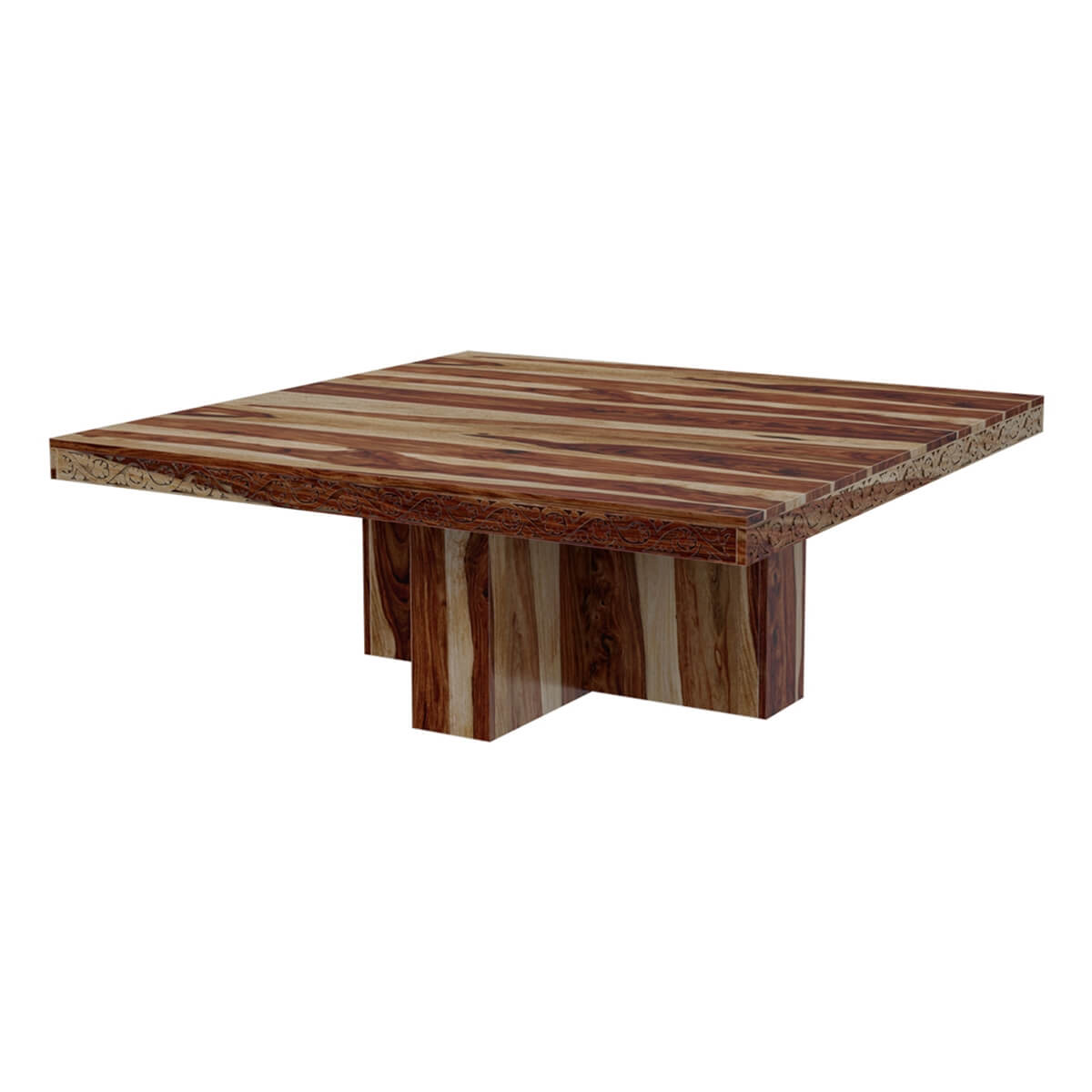 Square Pedestal Dallas Solid Wood Rustic Dining Table