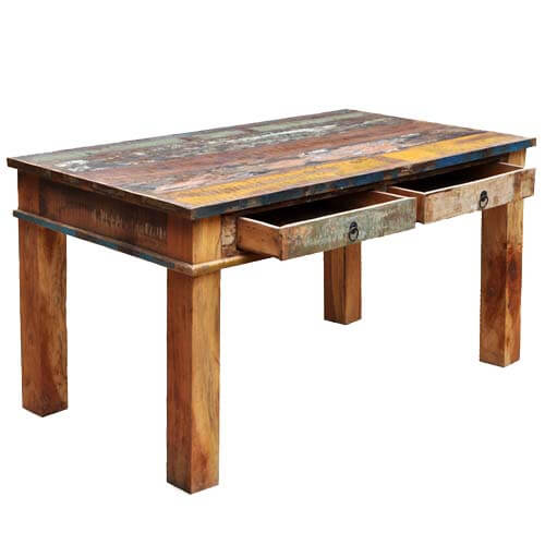 Unique reclaimed wood rustic dining room table furniture for Reclaimed dining room table