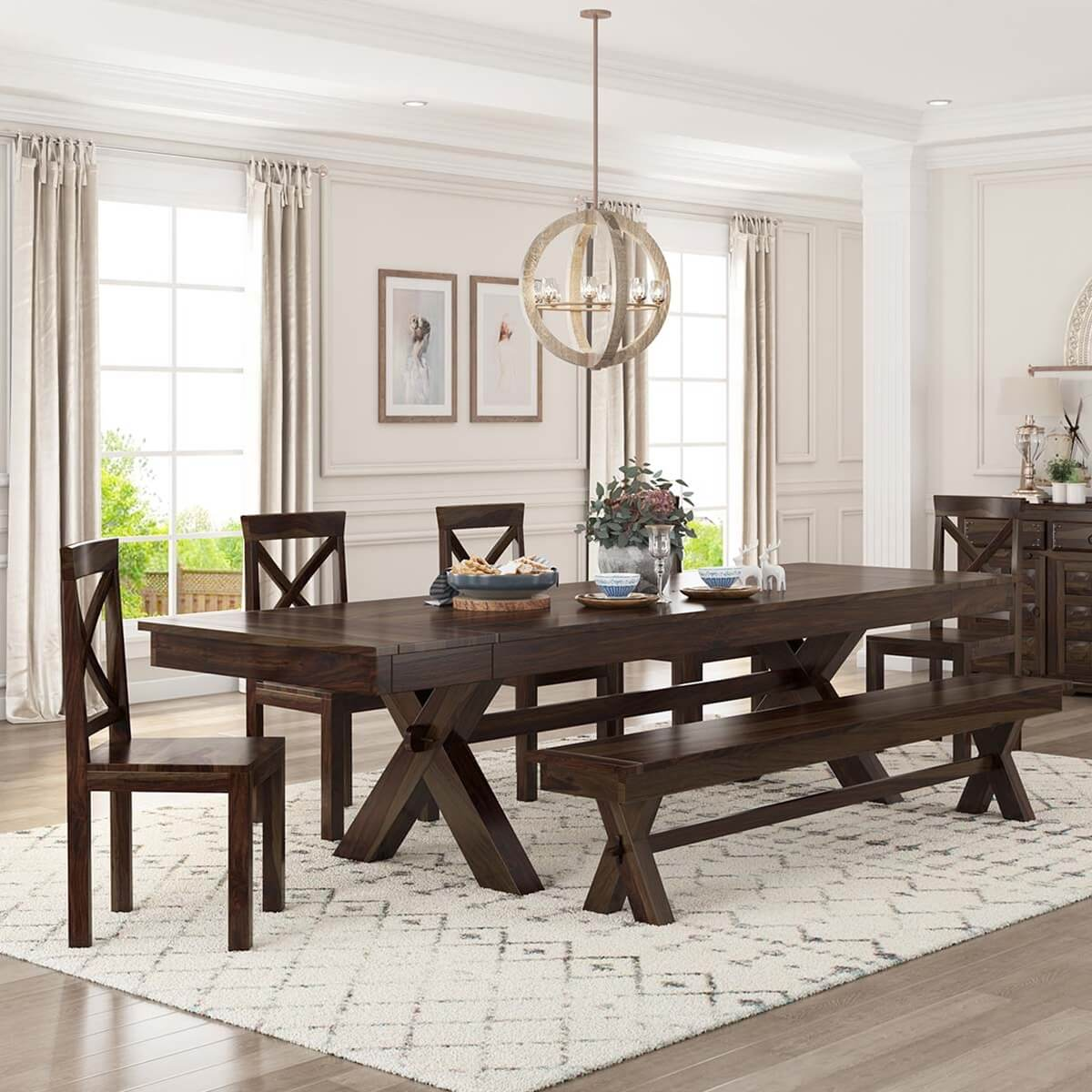 indoor picnic style dining table bench set with extensions