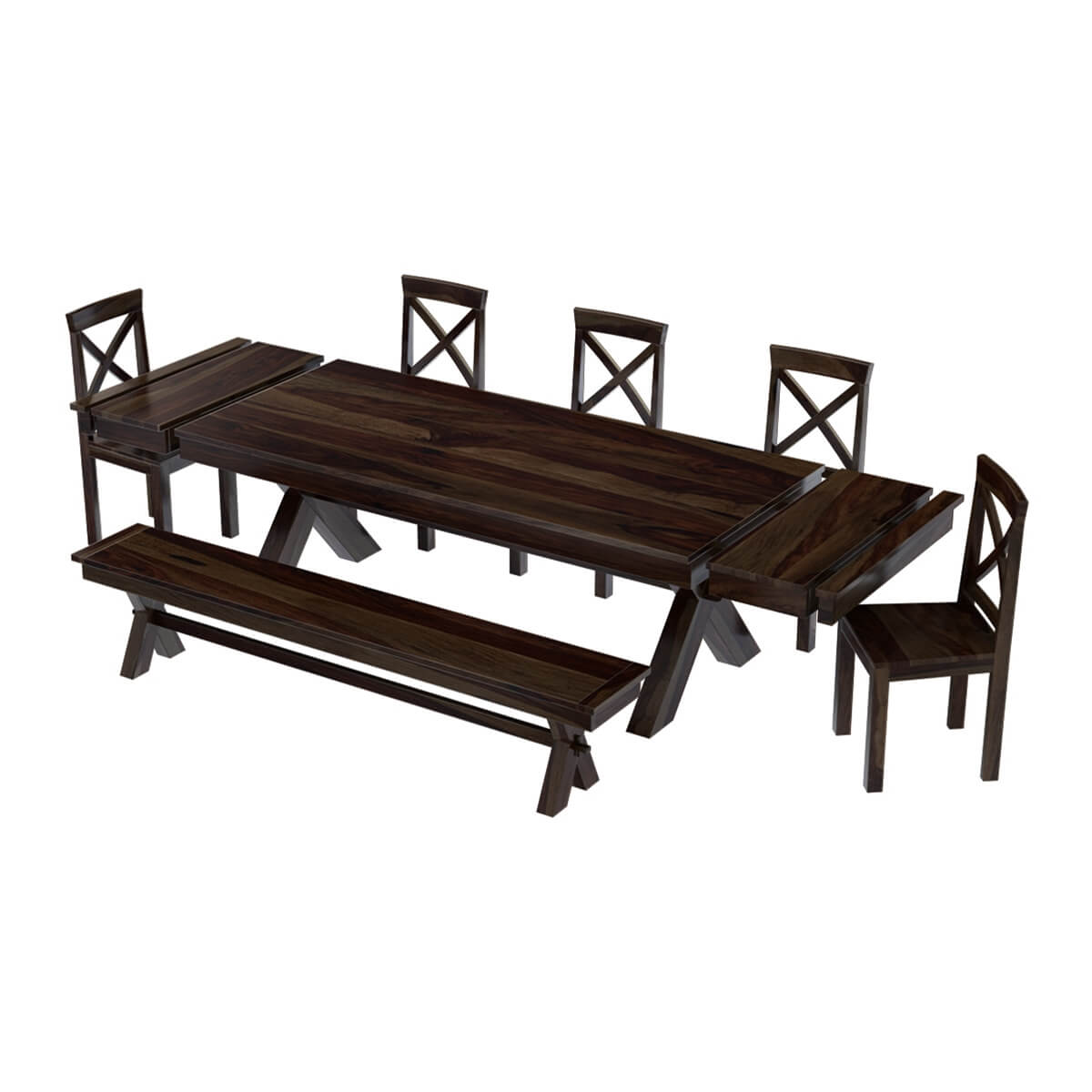 Westside indoor picnic style dining table bench set with for Dinette table with bench