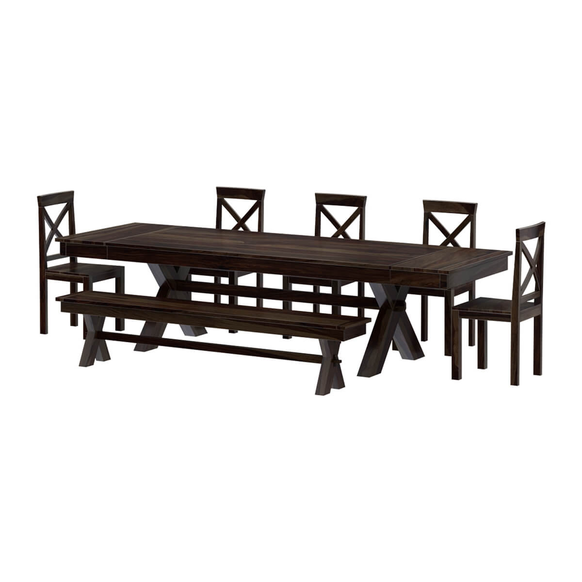 Picnic Table Dining Room Sets: Westside Indoor Picnic Style Extendable Dining Table Bench Set