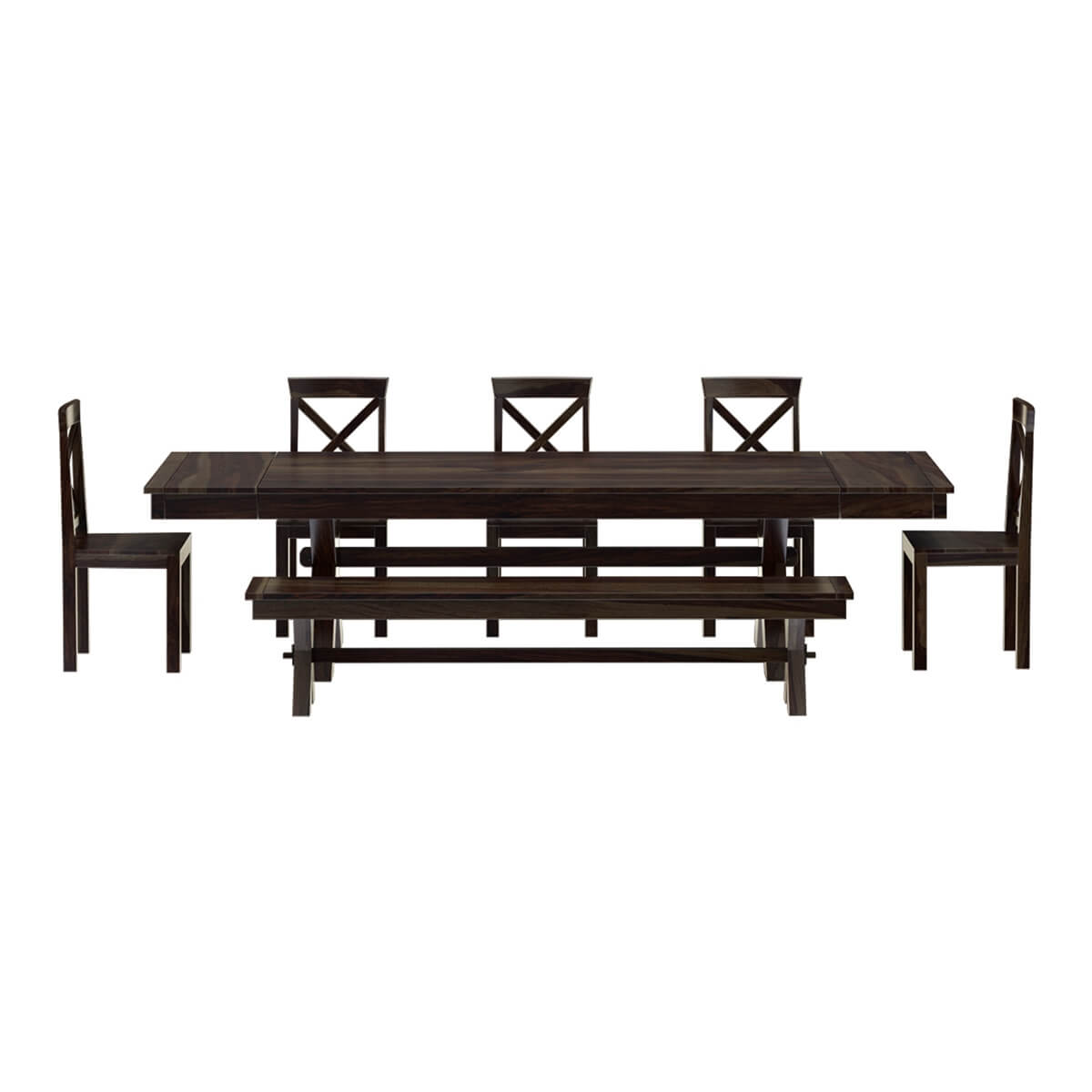 Westside indoor picnic style dining table bench set with extensions Dining table and bench set