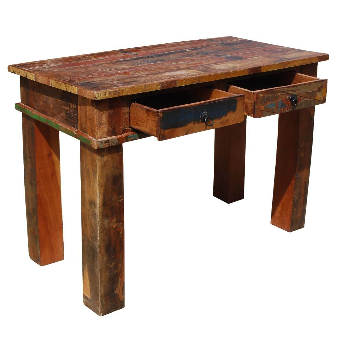 Foyer Table Distressed : Rustic distressed reclaimed wood console hall sofa