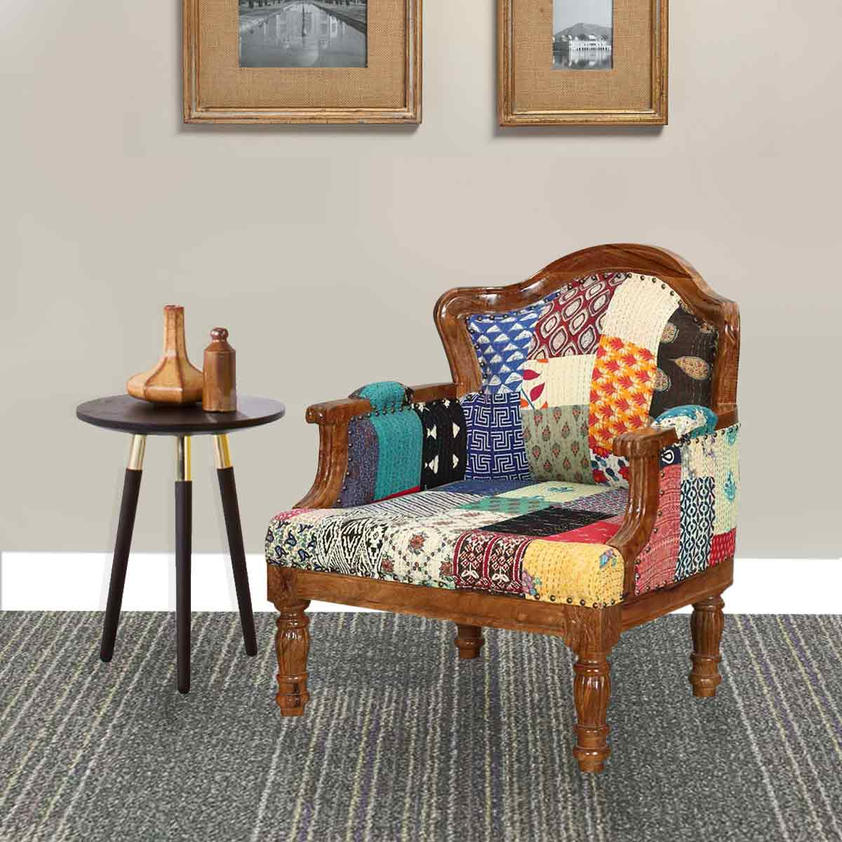 Federal mango wood patch quilt upholstered overstuffed for Overstuffed armchair