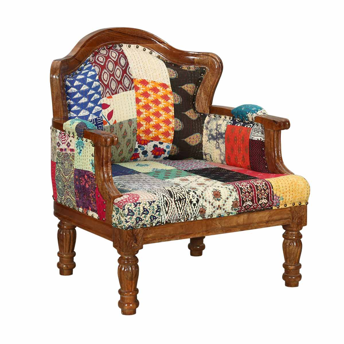 Oversuffed Accent Chair: Federal Mango Wood & Patch Quilt Upholstered Overstuffed