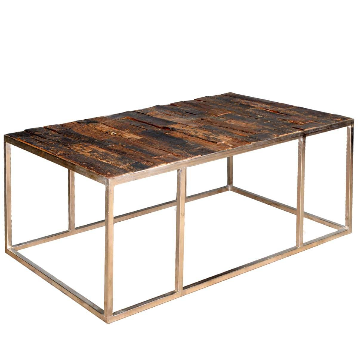 Contemporary Iron Railroad Tie Eco Smart Coffee Table
