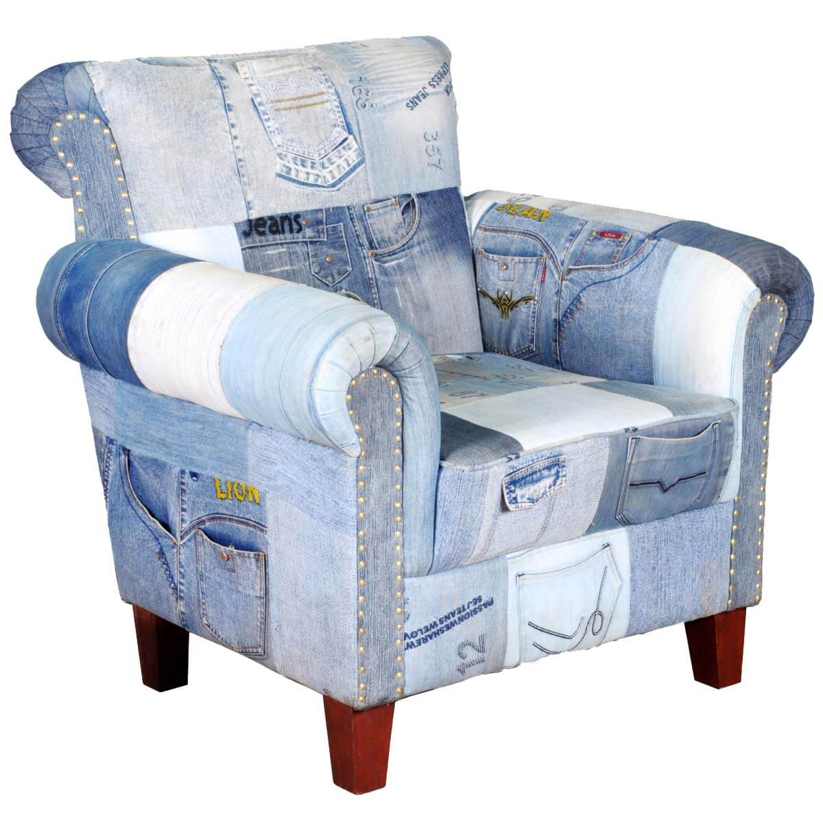 Whimsical blue jean w pockets overstuffed easy upholstered for Overstuffed armchair