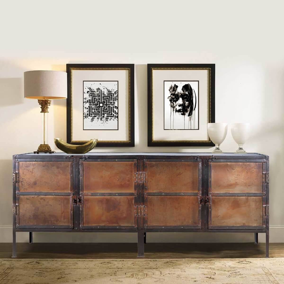industrial black and brown iron 76 4 door buffet cabinet. Black Bedroom Furniture Sets. Home Design Ideas