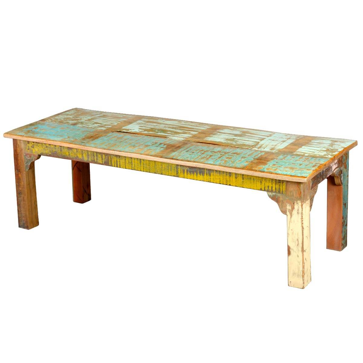 Rustic Distressed Solid Reclaimed Wood Bench