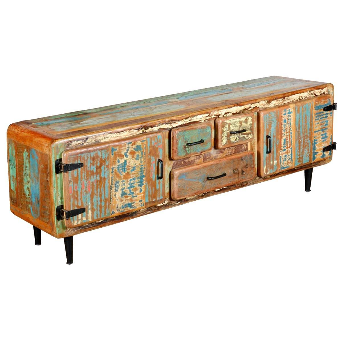 Retro Reclaimed Painted Wood Media Center Cabinet