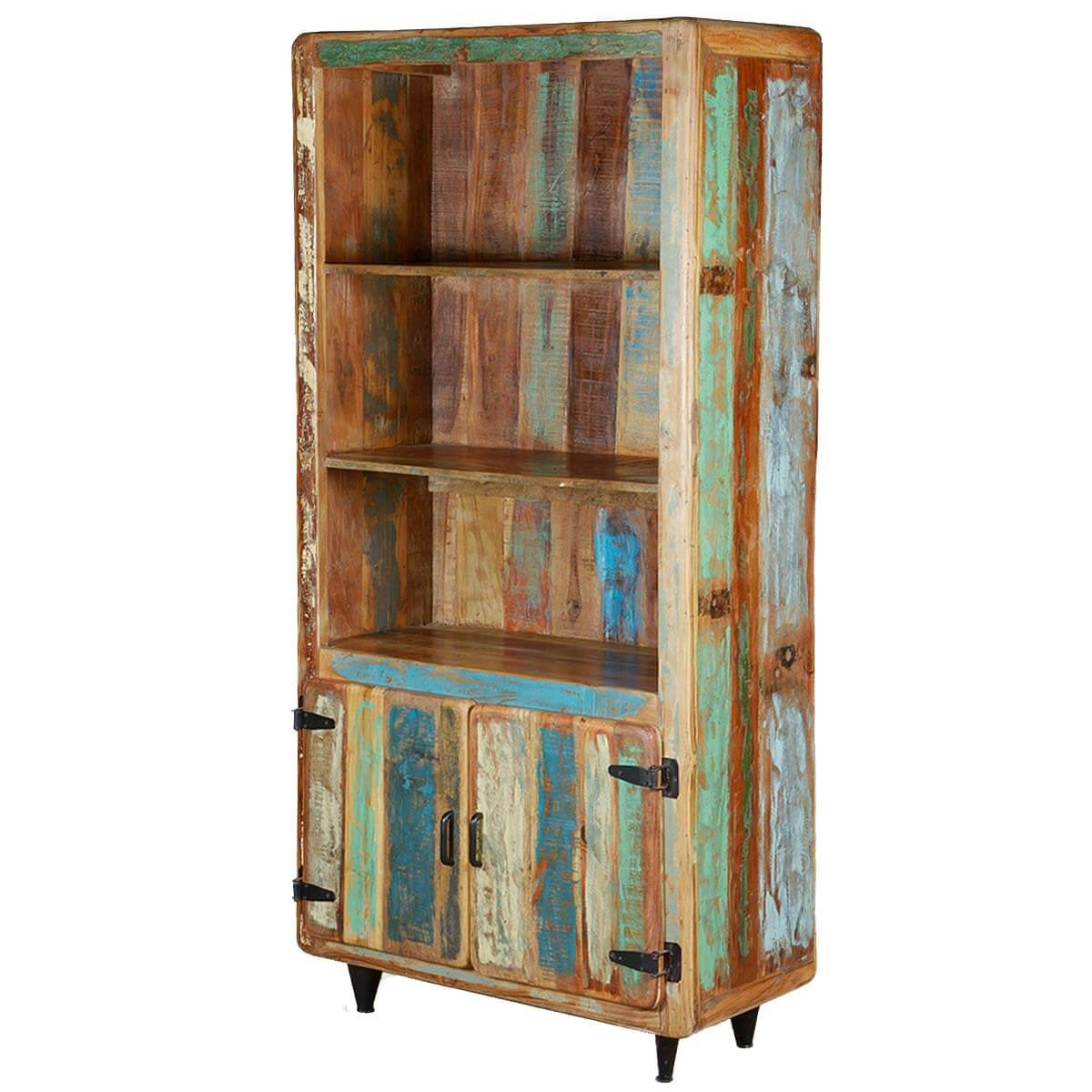 Recycled Wood Bookcase ~ Retro rustic quot reclaimed wood open shelf bookcase