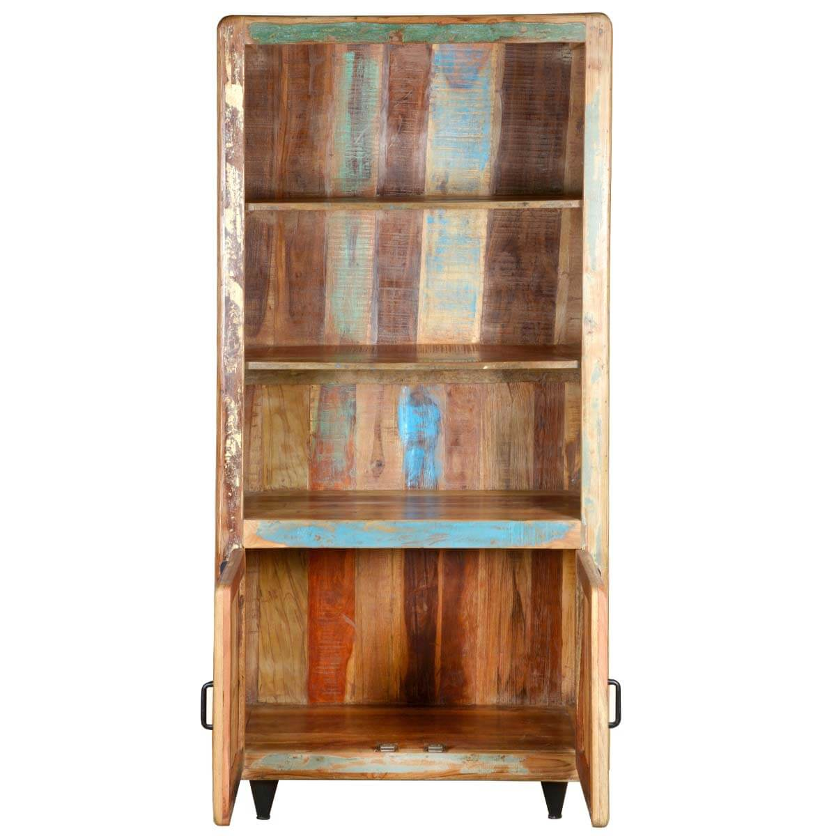 Retro Rustic Reclaimed Wood Open Shelf Bookcase