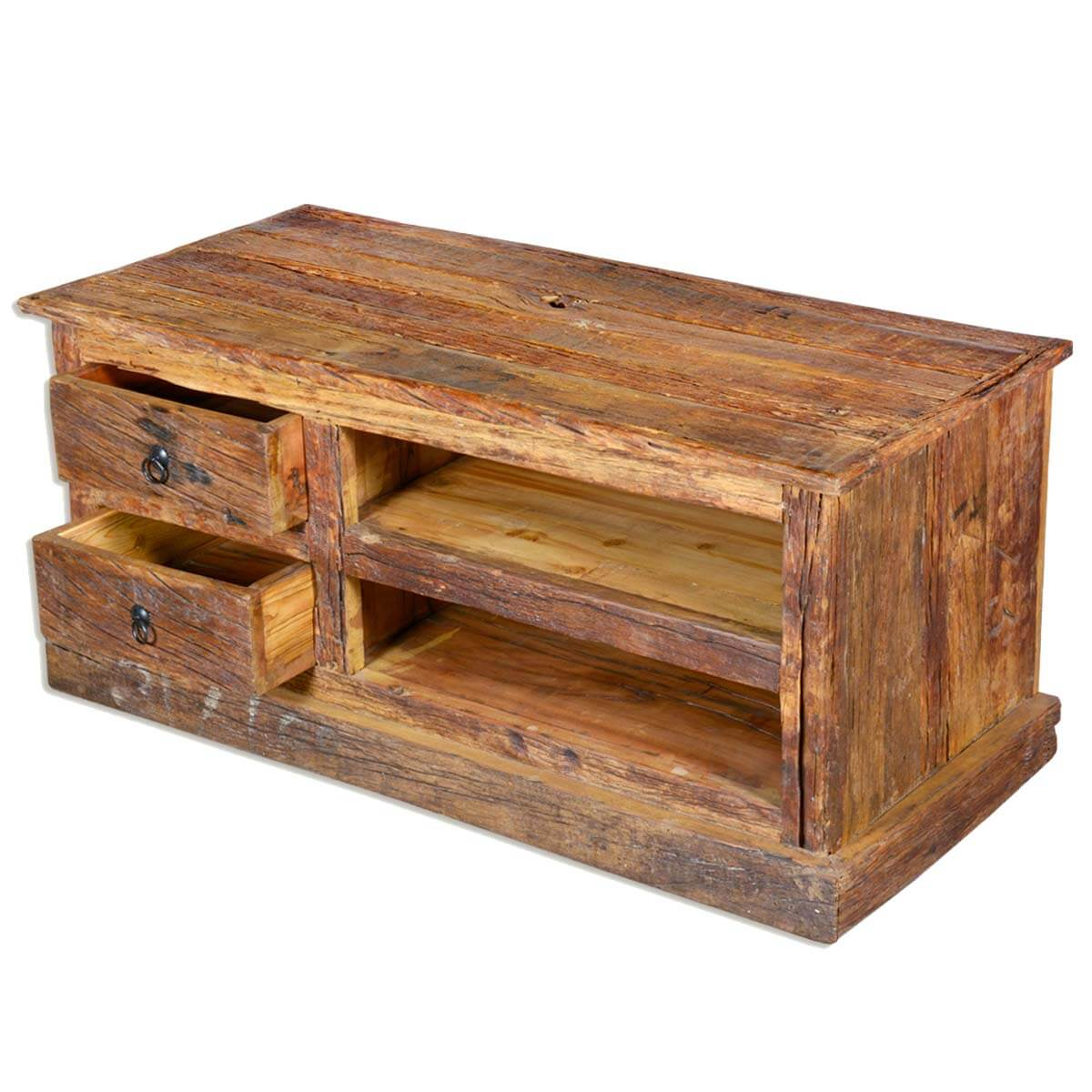 Wooden Center Console ~ Rustic railroad reclaimed wood media center console
