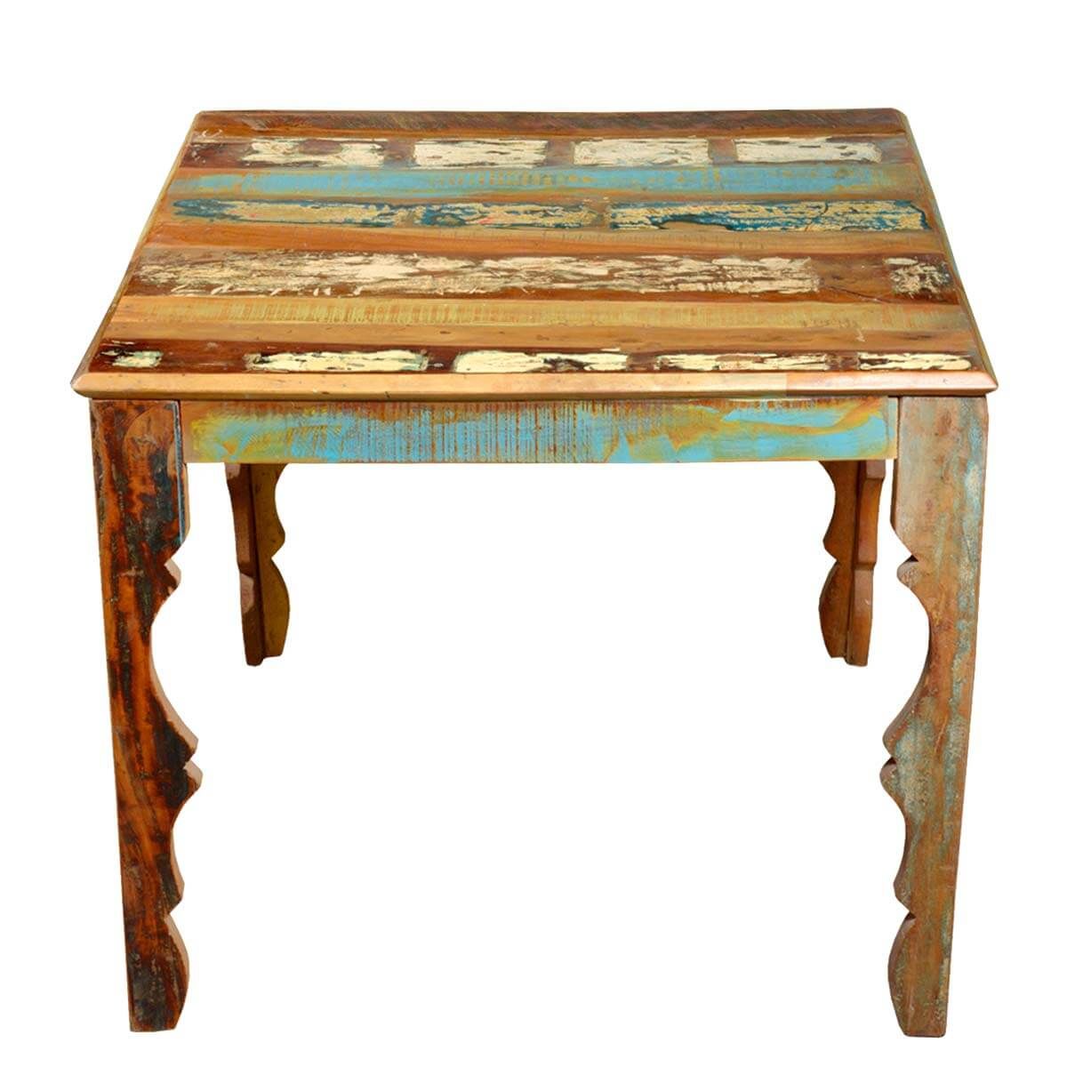 Rustic reclaimed wood 36 square dining table w decorative for Ornamental centrepiece for a dining table