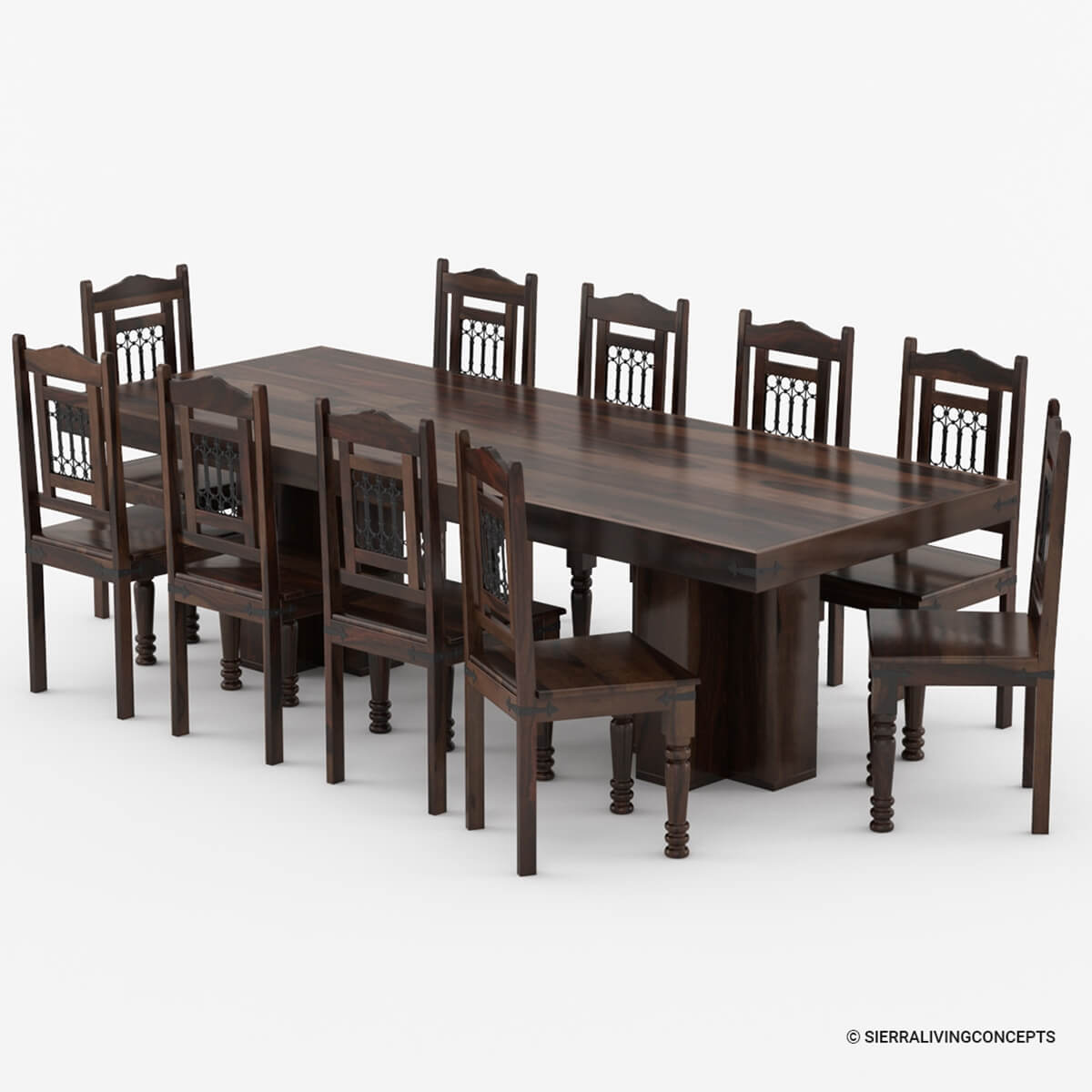 dallas classic solid wood double pedestal dining set for 8 people. Black Bedroom Furniture Sets. Home Design Ideas