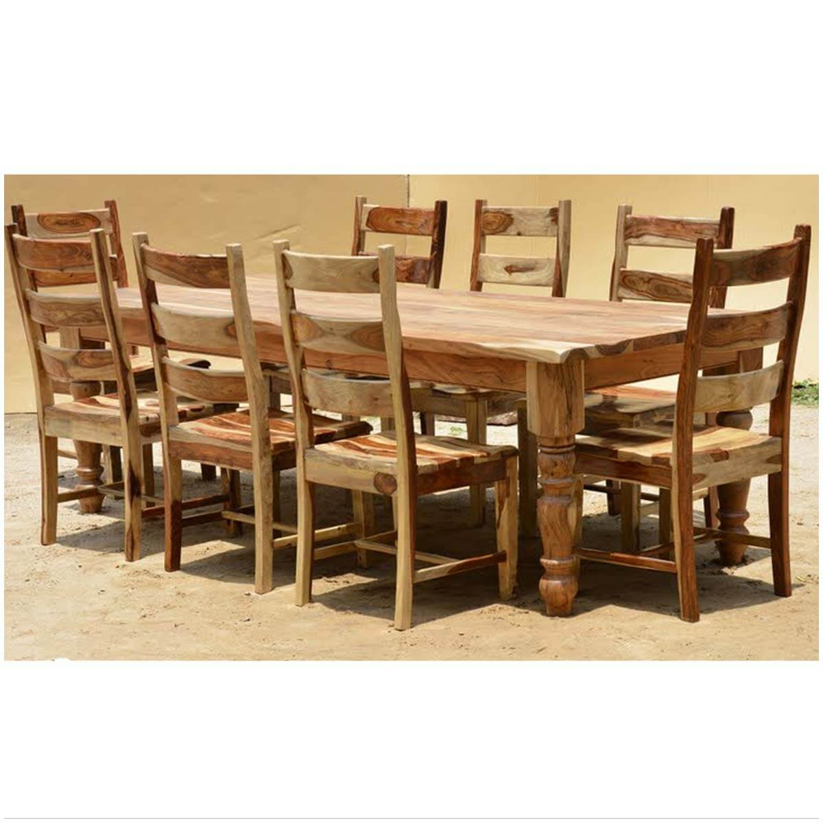 Farmhouse Solid Wood Live Edge Finish Large Dining Set For