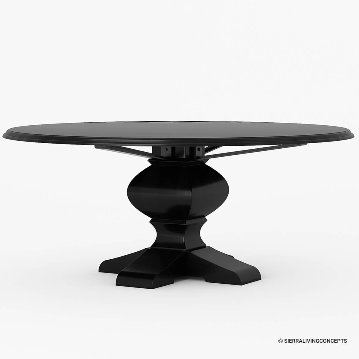 Sierra nevada rustic solid wood large round dining table for Solid wood round dining room table