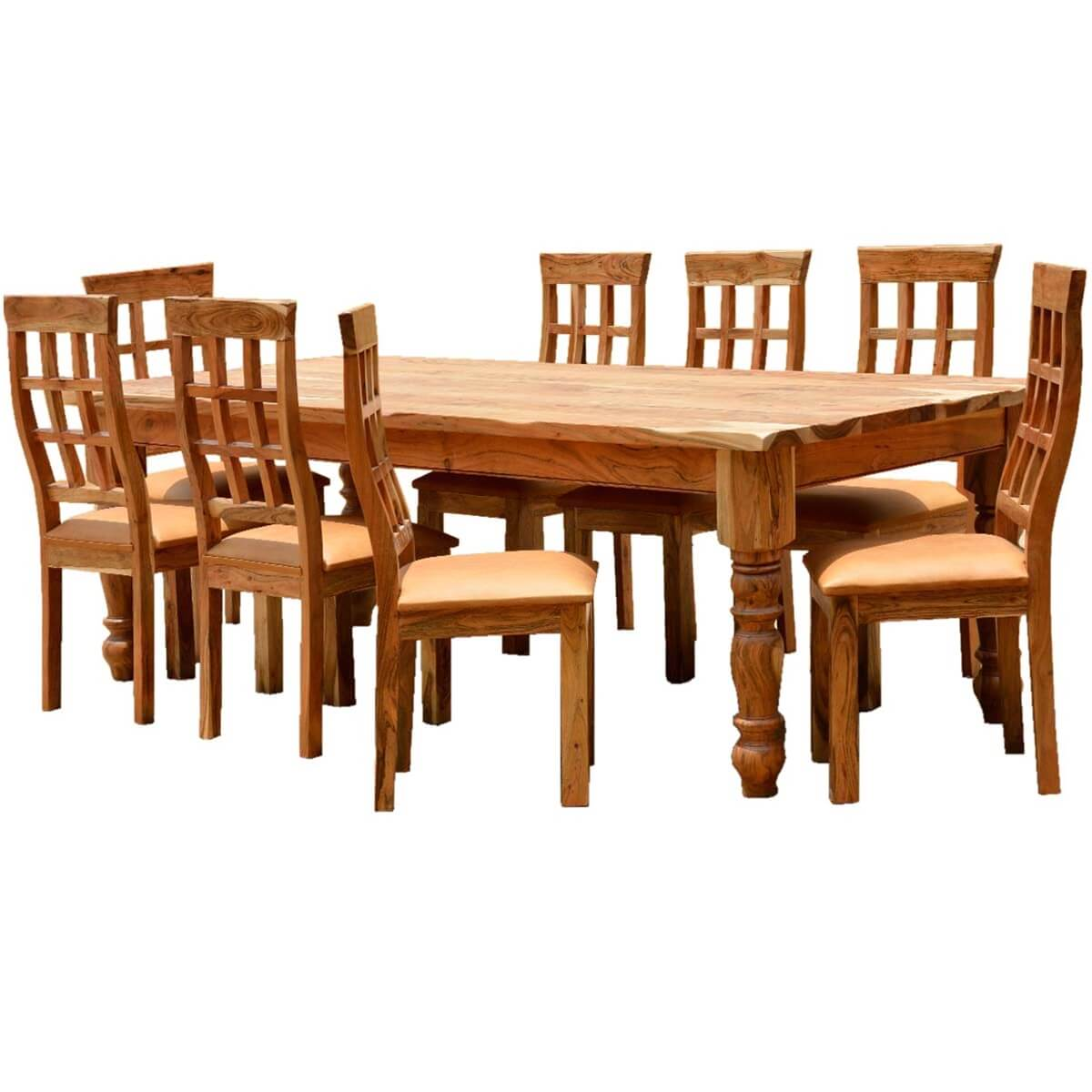 Rustic solid wood farmhouse dining 28 images solid for Farmhouse dining room table set