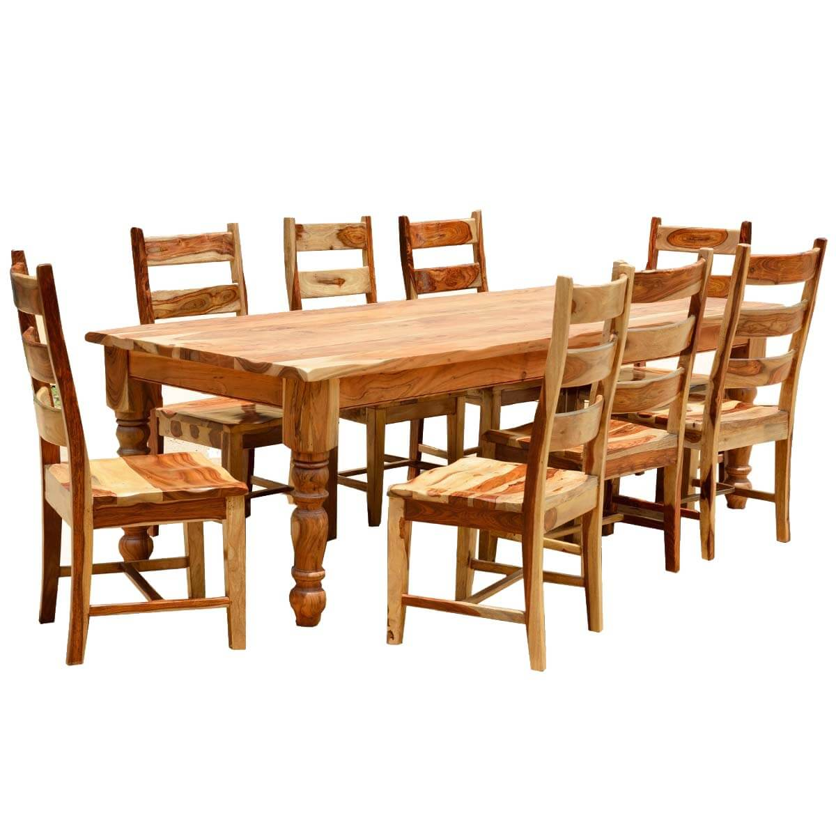 Rustic solid wood farmhouse dining room table chair set for Dining room table with bench