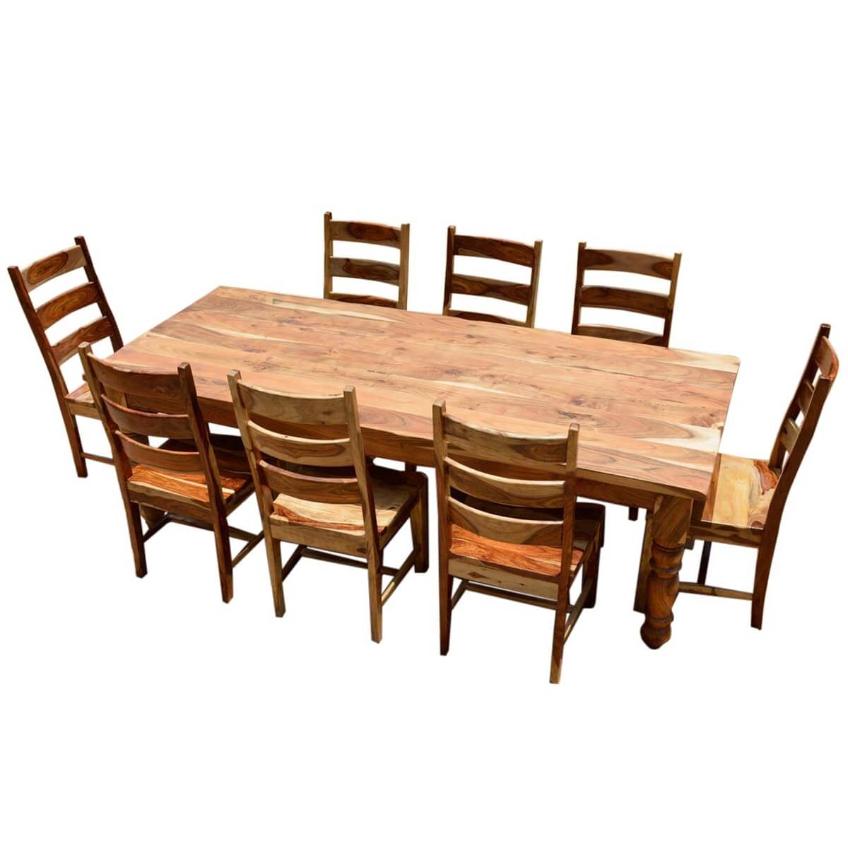 Rustic solid wood farmhouse dining room table chair set for Wood dining room furniture