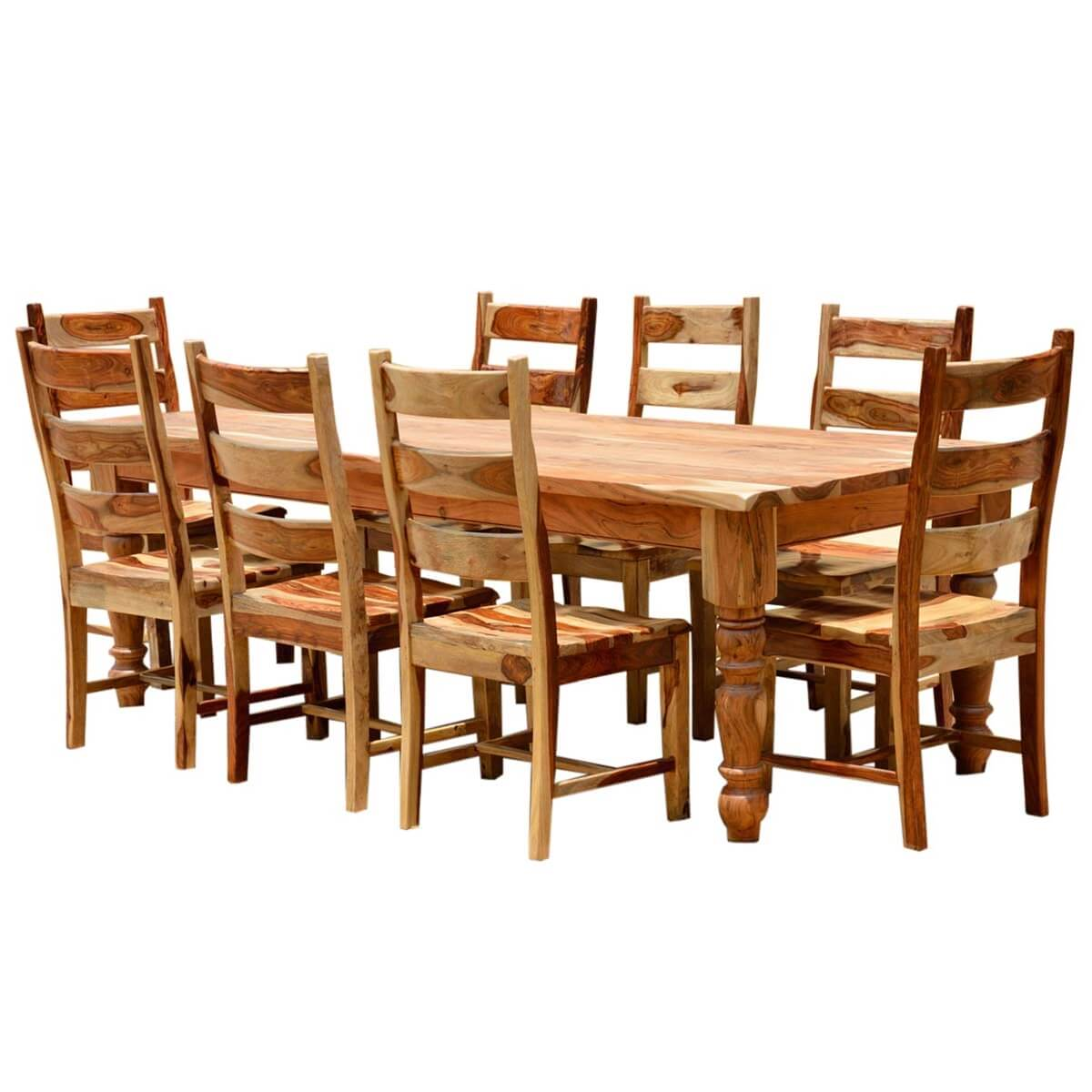 Rustic solid wood farmhouse dining room table chair set for Farmhouse dining room table set