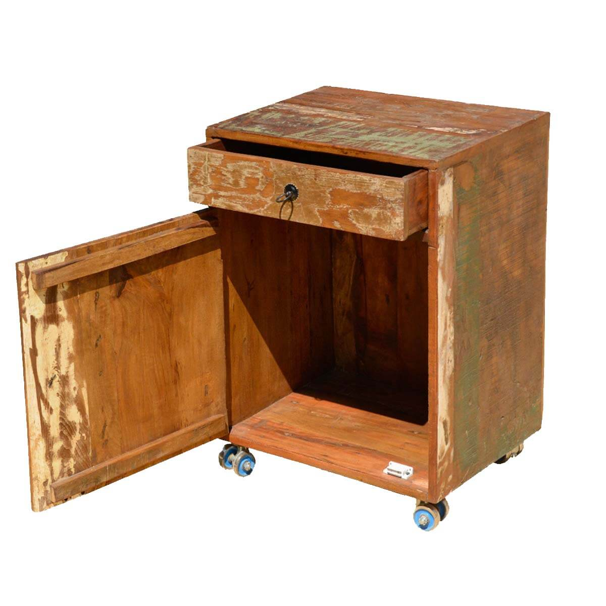 Rustic reclaimed wood rolling end table cabinet for Reclaimed wood end table