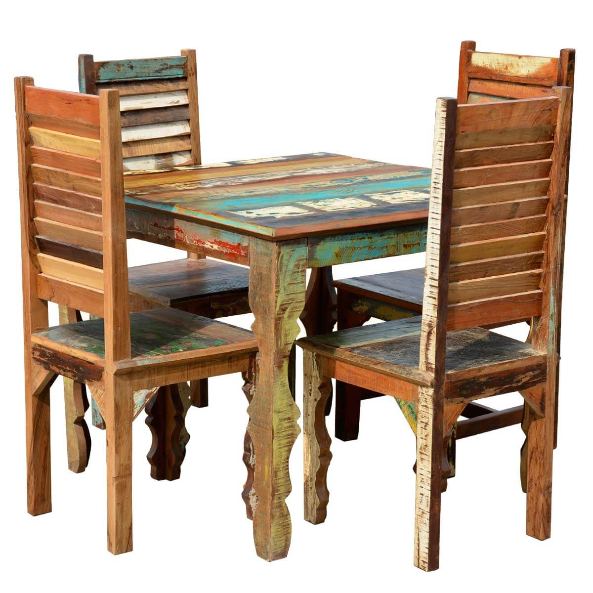 Reclaimed Wood Dining Chairs ~ Rustic reclaimed wood dining table w shutter back chairs