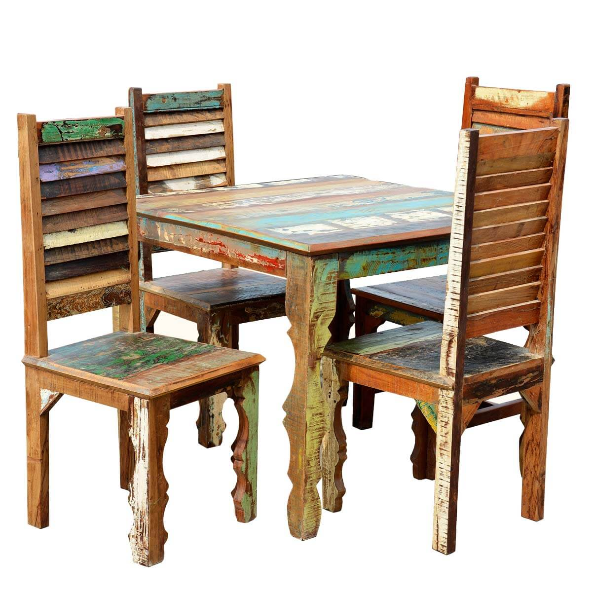 rustic reclaimed wood dining table w shutter back chairs for 4 people. Black Bedroom Furniture Sets. Home Design Ideas