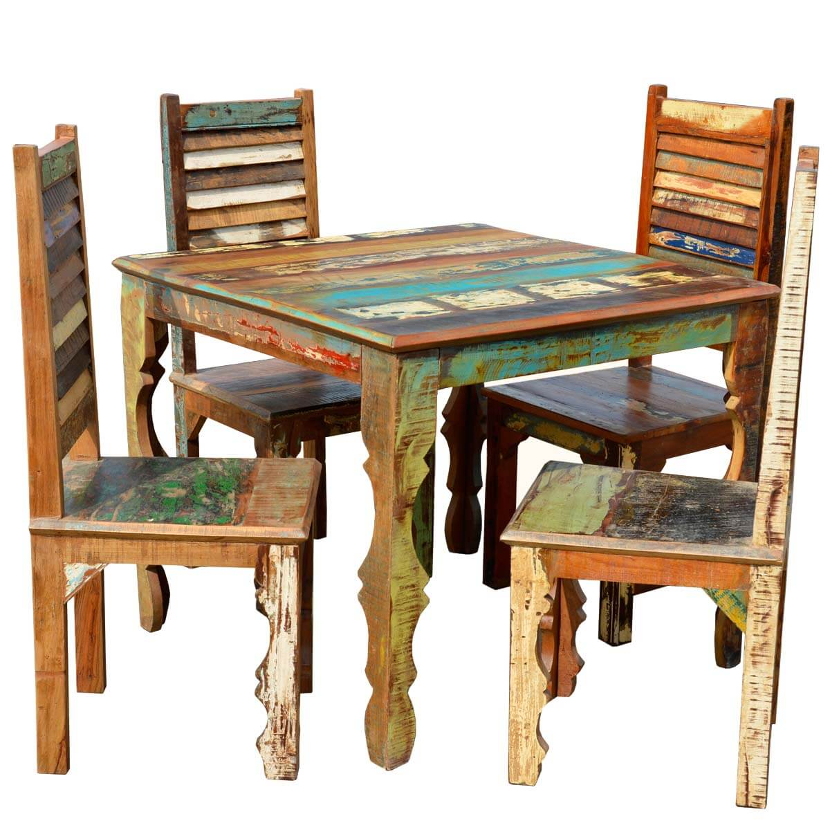 Kitchen Tables With Benches And Chairs Table Wood: Rustic Reclaimed Wood Dining Table W Shutter Back Chairs