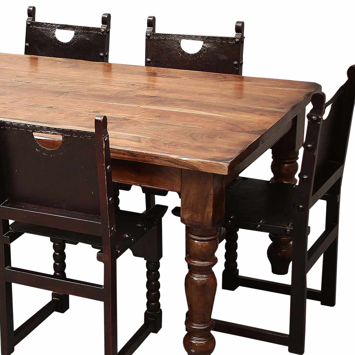Classic Rustic Acacia Leather Dining Table Chair Set