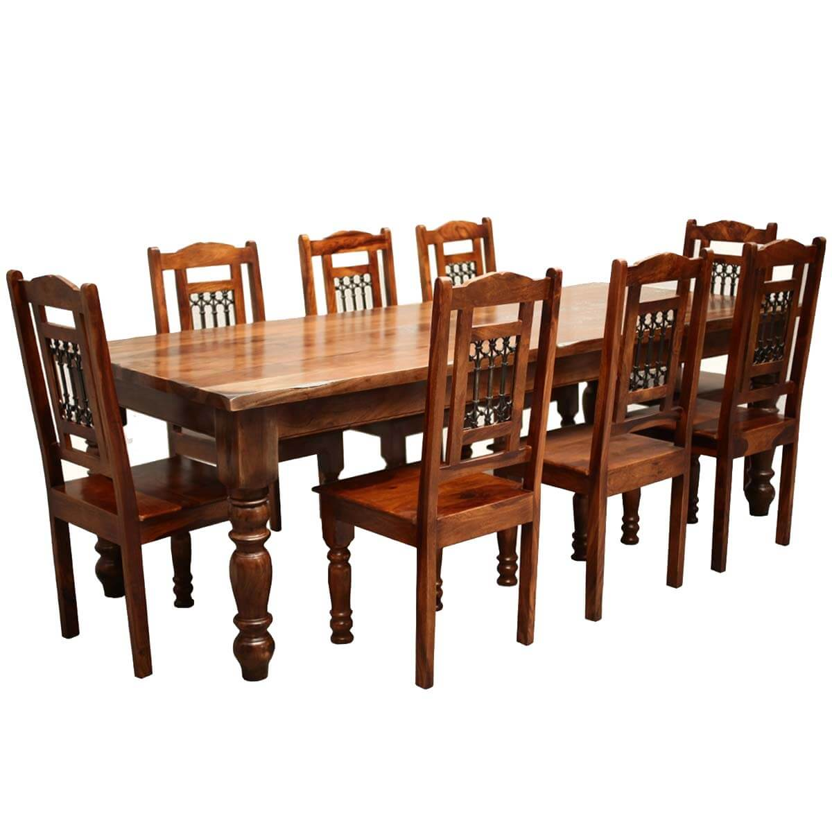 Rustic furniture solid wood large dining table 8 chair set for Dining table set designs