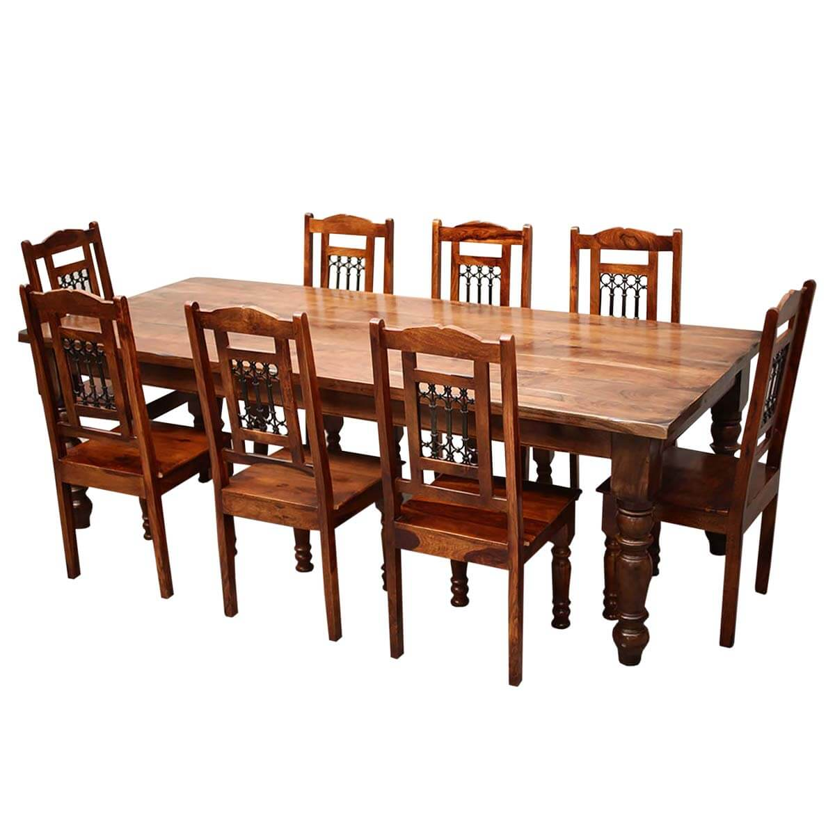 Rustic furniture solid wood large dining table 8 chair set for Solid wood dining table sets