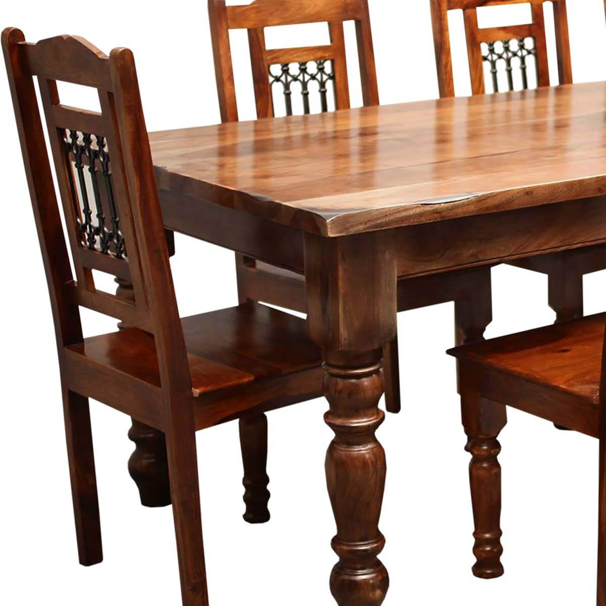 Solid Wood Kitchen Tables: Rustic Furniture Solid Wood Large Dining Table & 8 Chair Set