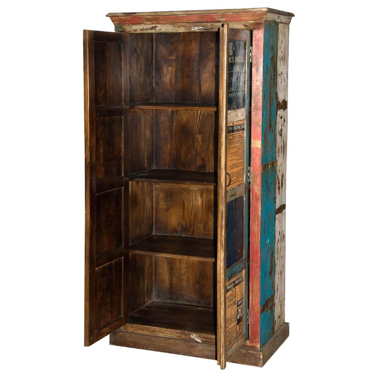 Rustic Reclaimed Wood 4 Shelf Industrial Armoire Cabinet Furniture