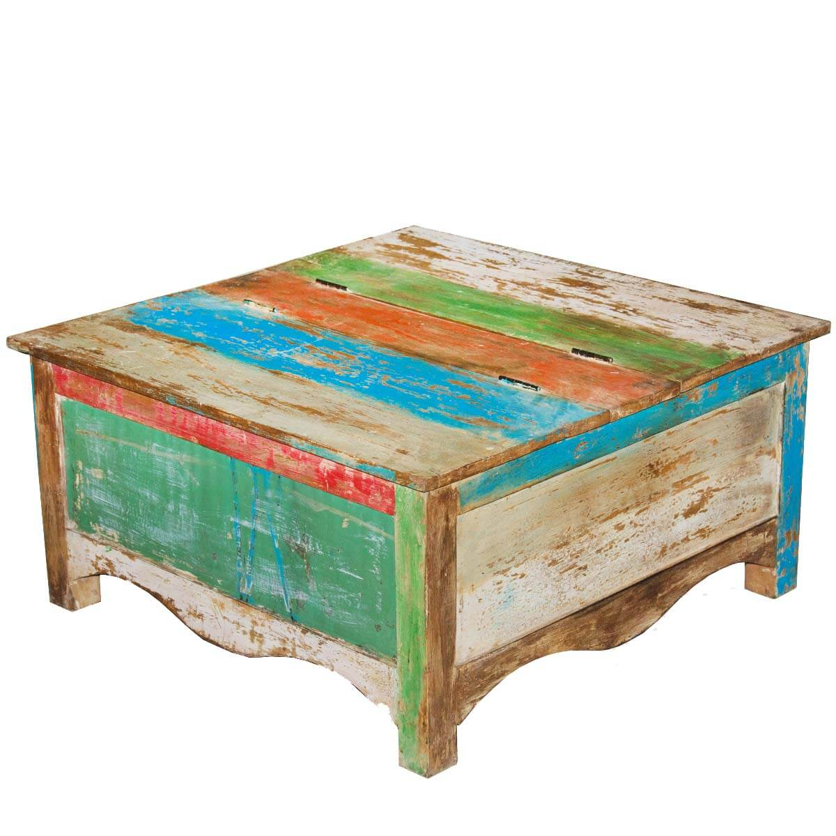 Rainbow striped square reclaimed wood coffee table storage for Small square coffee table with storage