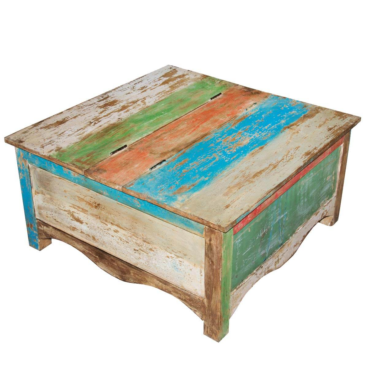 Rainbow Striped Square Reclaimed Wood Coffee Table Storage