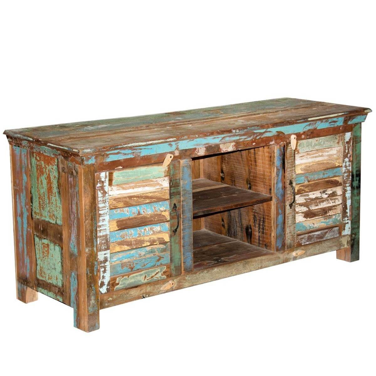 Superb img of  Appalachian Rustic Shutter Doors Reclaimed Wood TV Stand Media Console with #A1762A color and 1200x1200 pixels