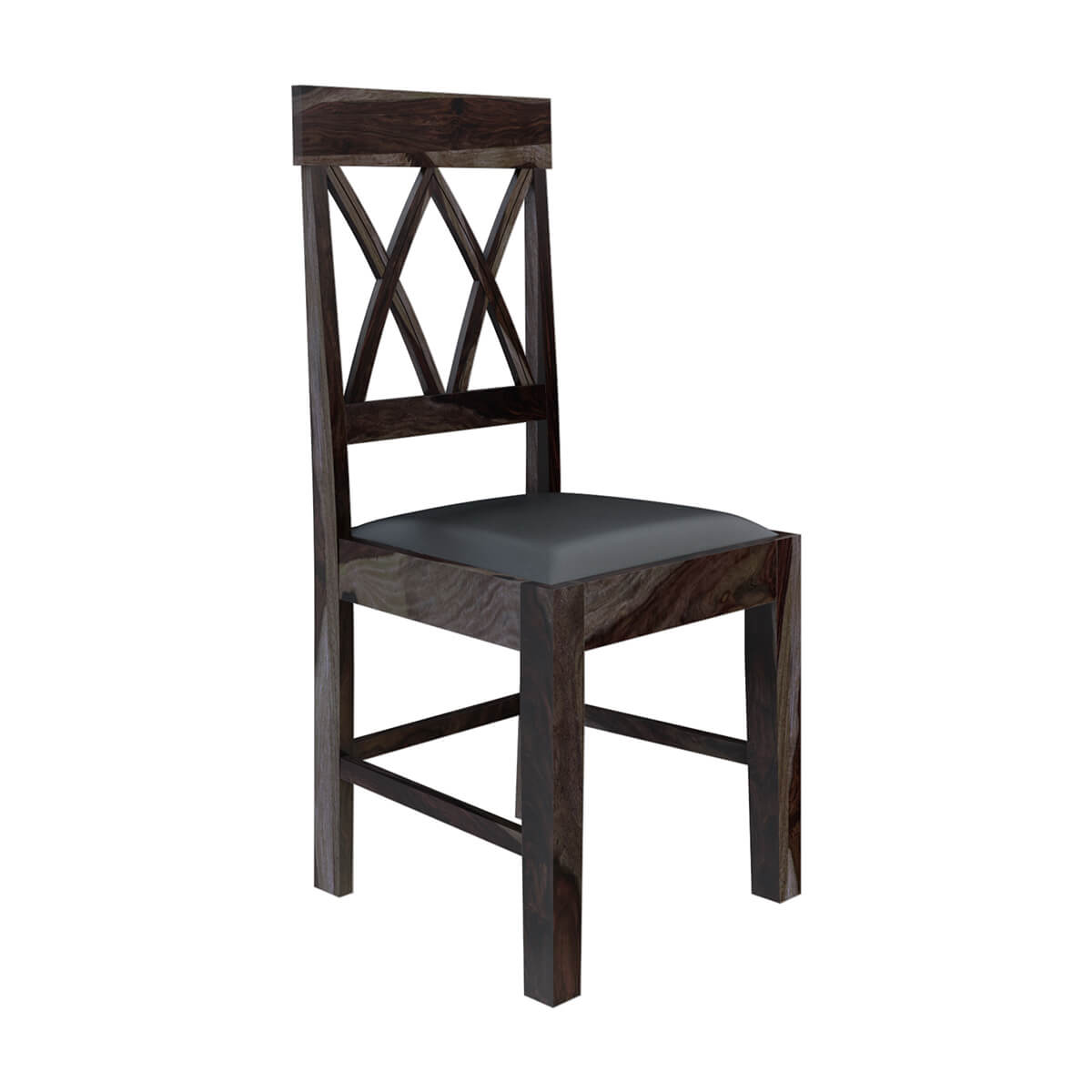 Sheraton pineapple back solid wood leather rustic dining for Wood leather dining chairs