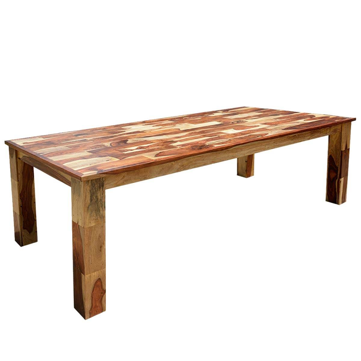 Cariboo rustic solid wood large rectangular dining table for Solid wood dining table