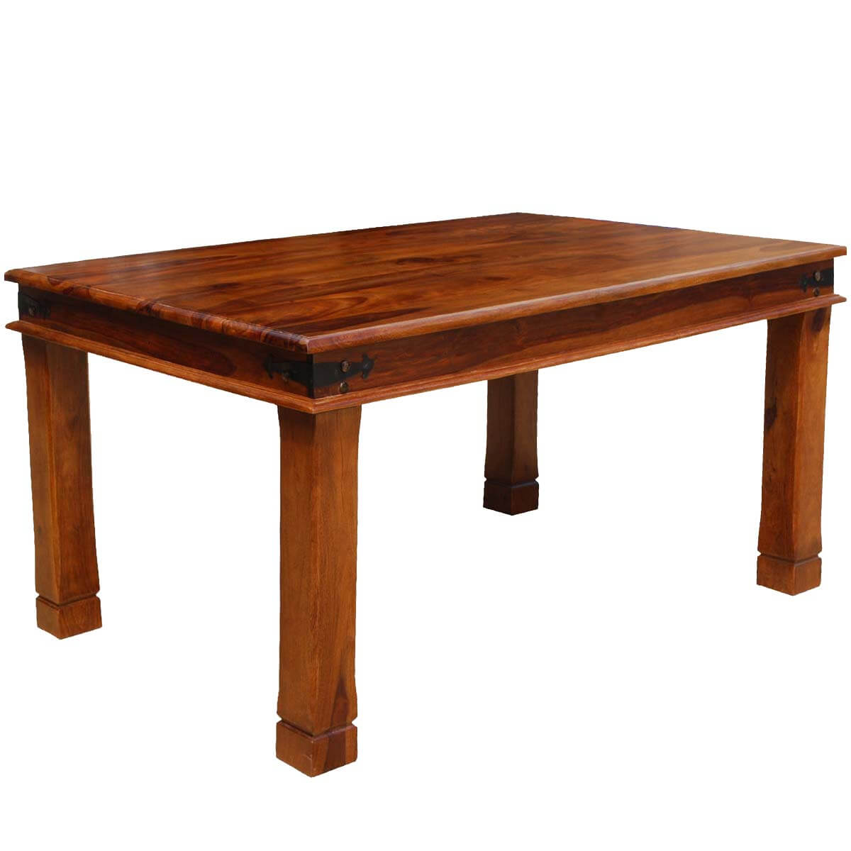 Fannin transitional solid wood double edge dining table for Hardwood dining table