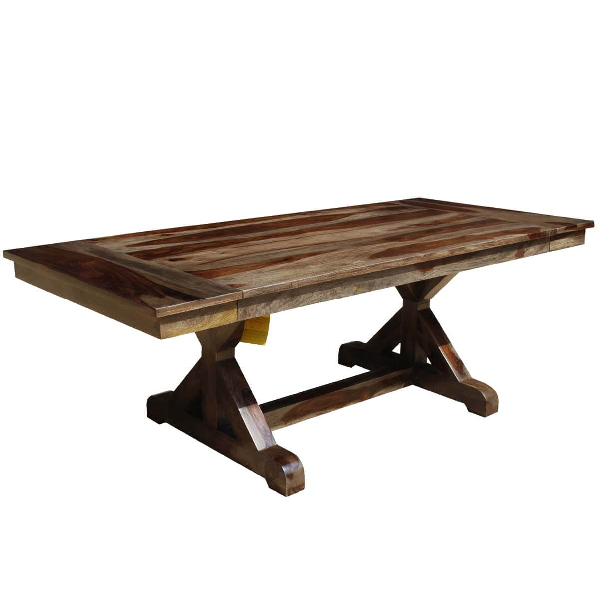 Mckay x base solid wood rustic dining table w extension for Solid wood dining table