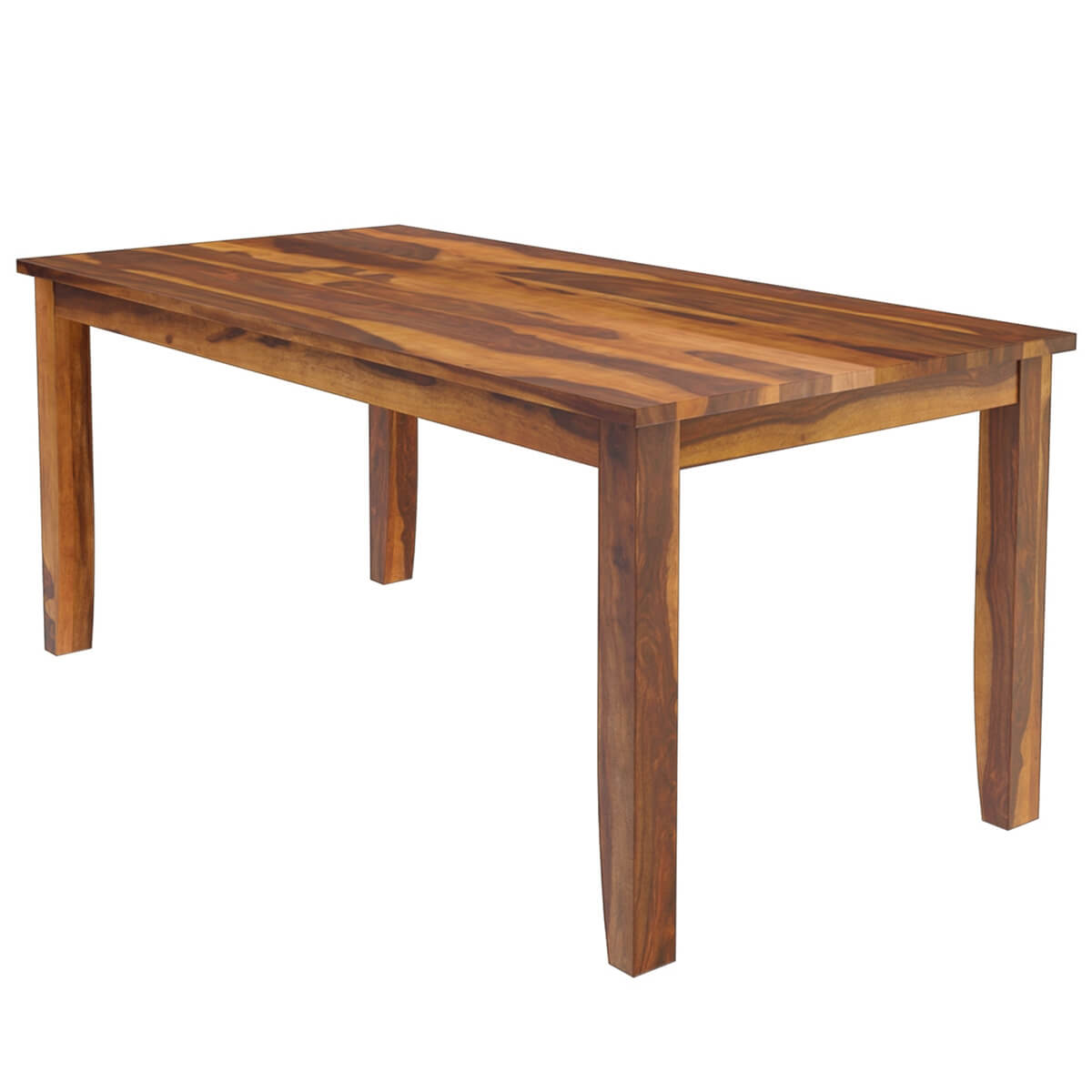 Cariboo contemporary tapered legs solid wood dining table for Solid oak dining table