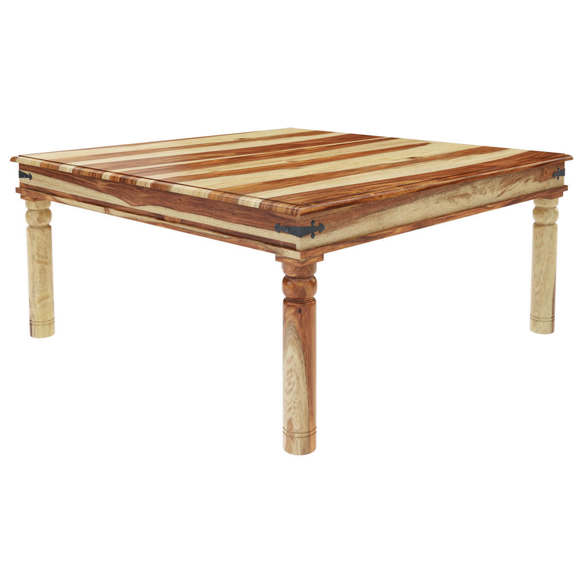 Peoria rustic solid wood square dining table for Solid wood dining table