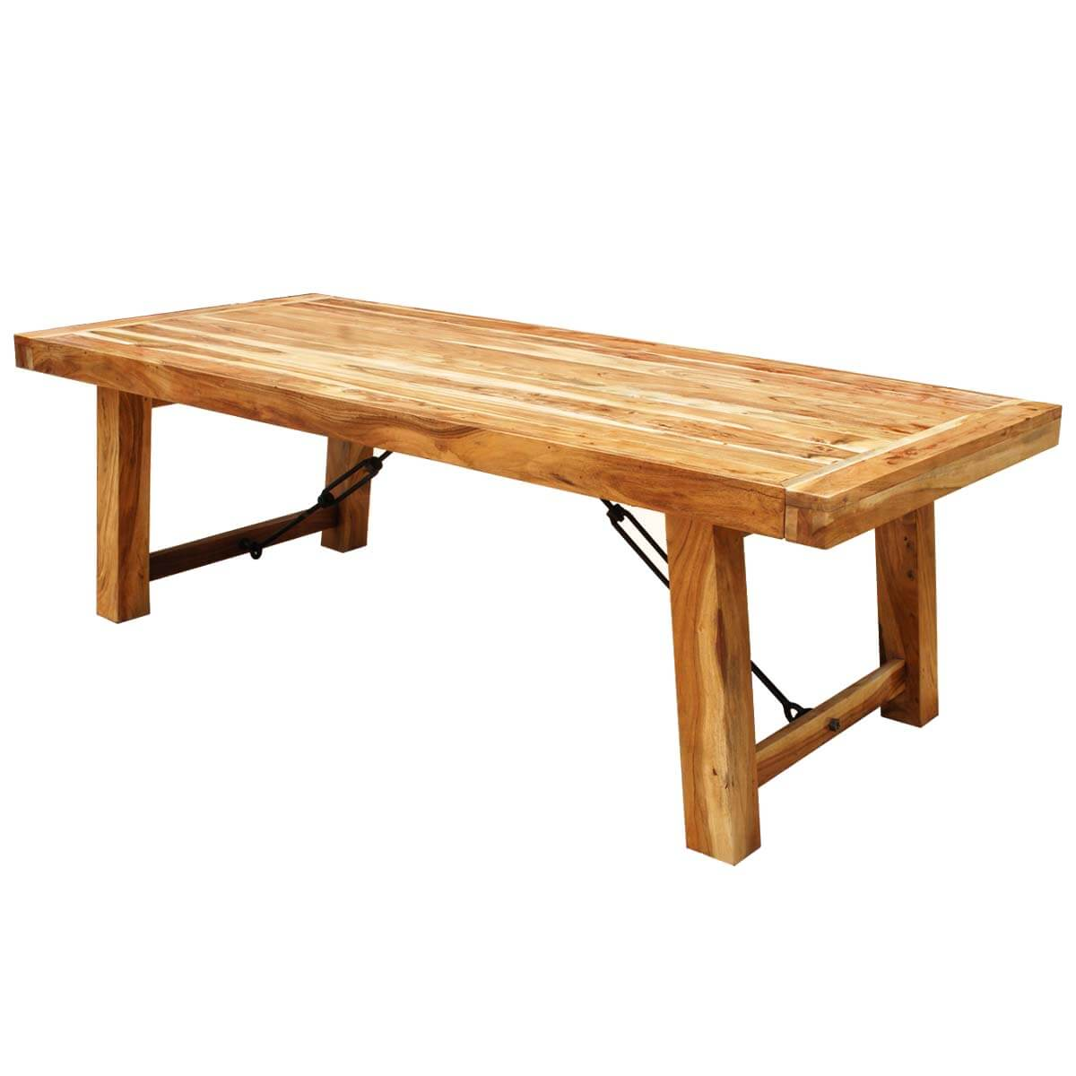 Rustic wood large santa fe dining room table w extensions for Dining room tables large
