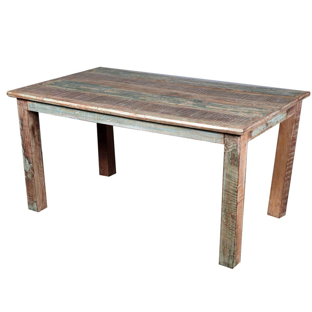 Rustic reclaimed wood distressed kitchen dining table for Dinner table wood