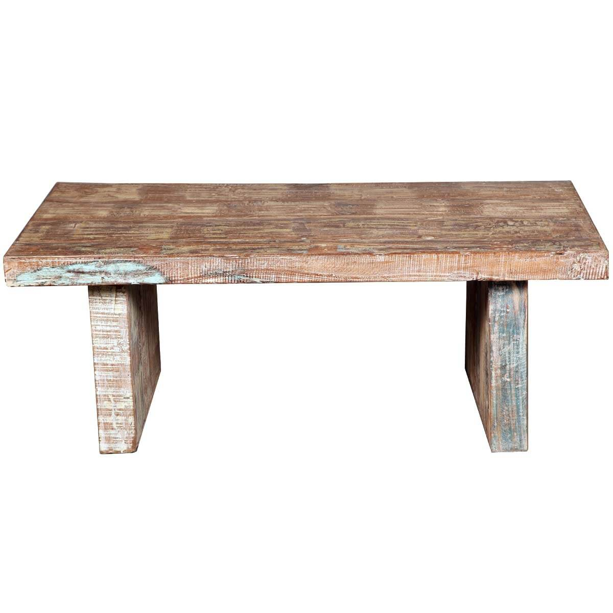 Large Distressed Wood Coffee Table: Rustic Mission Reclaimed Wood Distressed Coffee Table