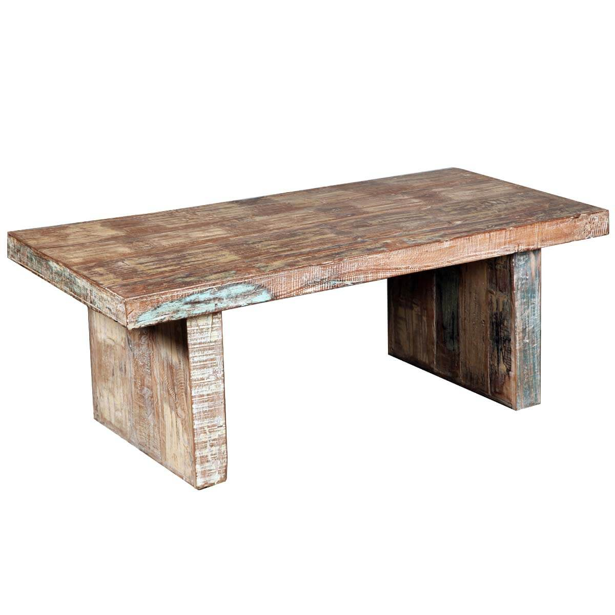 Rustic mission reclaimed wood distressed coffee table for Wooden coffee tables images