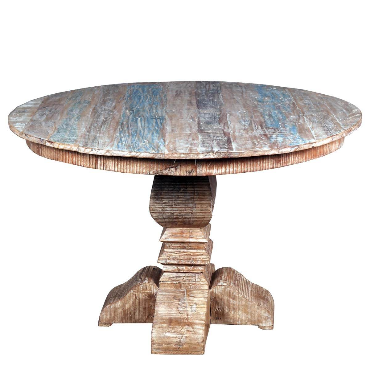 French quarter rustic reclaimed wood round dining table Rustic wood dining table